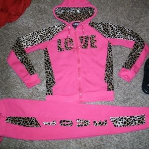 #597 LOVE Sweatsuit- Hot Pink with velvet leopard